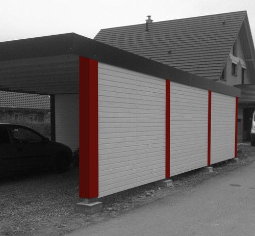Carport typ capo massiv systembox for Carport pfosten